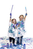 Les filles d'enfance parquettent la peinture Photo stock