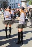 Les filles dans des gilets rayés Photos libres de droits