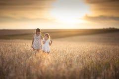 Les filles de soeurs marchent dans le domaine avec le coucher du soleil de seigle Images libres de droits