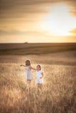 Les filles de soeurs marchent dans le domaine avec le coucher du soleil de seigle Images stock