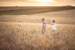 Les filles de soeurs marchent dans le domaine avec le coucher du soleil de seigle Photo libre de droits