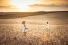 Les filles de soeurs marchent dans le domaine avec le coucher du soleil de seigle Photographie stock libre de droits