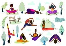 Les filles de yoga dirigent l'ensemble illustration stock