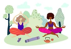 Les filles de yoga dirigent l'ensemble illustration stock