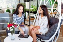Les filles discutent les feuilles attrayantes réussies de style de vie d'endroit de conversation d'amie de femmes de jeune amie d Images libres de droits