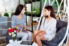 Les filles discutent les feuilles attrayantes réussies de style de vie d'endroit de conversation d'amie de femmes de jeune amie d Photographie stock