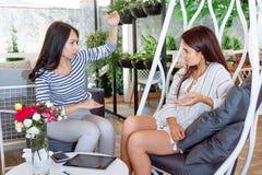 Les filles discutent les feuilles attrayantes réussies de style de vie d'endroit de conversation d'amie de femmes de jeune amie d Photos stock