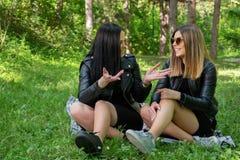 Les filles heureuses parlant en nature et s'asseyant dans le pr? sur une couverture, filles rient et appr?cient une belle journ?e image stock