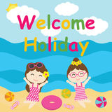 Les filles mignonnes sont heureuses sur la bande dessinée de vacances, la carte postale d'été, le papier peint, et la carte de vo illustration de vecteur