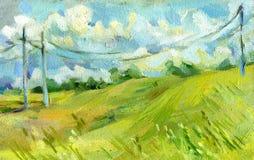 Les fils électriques dans le domaine d'été huilent sur l'illustration de toile Images libres de droits