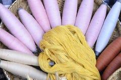 Les fils de coton organiques crus dans le plateau Image libre de droits