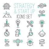 Les finances réglées d'ui de sites Web de stratégie d'ensemble de Web d'icône de démarrage d'affaires commencent des symboles de  illustration libre de droits