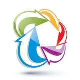 Les flèches abstraites dirigent le symbole, élément de conception graphique Images libres de droits