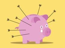 Les flèches attaquent la tirelire Concept de risque d'affaires illustration stock