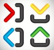 Les flèches avec le récipient aiment des formes À l'intérieur de, en dehors de, vers le haut de, vers le bas Illustration Libre de Droits