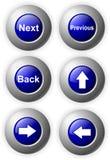 Les flèches bleues lustrées de boutons ensuite desserrent Image stock
