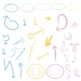 Les flèches, cadres placent/collections, icônes, étiquettes, symboles Photos libres de droits