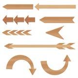 Les flèches en bois ont placé l'illustration de vecteur d'isolement sur le fond blanc Photo stock