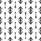 Les flèches indiennes sans couture de vecteur de modèle et fond noir et blanc des ornements géométriques du genre américain indig Photo stock