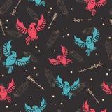 Les flèches tribales d'oiseaux de flèches chassent le modèle sans couture Photo stock