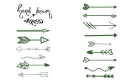 Les flèches vertes balayent le dessin de main sur le fond blanc Carte de voeux d'affaires, carte postale, symbole de conception,  illustration libre de droits