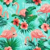 Les flamants roses, oiseaux exotiques, palmettes tropicales, arbres, jungle laisse à vecteur sans couture le fond floral de modèl illustration stock