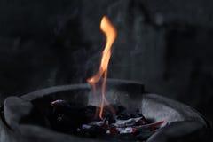 Les flammes brûlent dans le four image libre de droits