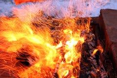 Les flammes du feu photo libre de droits