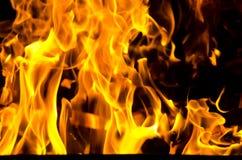 Les flammes ont allumé le feu, chauffant sa chaleur en temps froid Règles de l'élevage sûr du feu Photo libre de droits