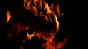 Les flammes qui ont englouti les charbons et le bois de chauffage banque de vidéos
