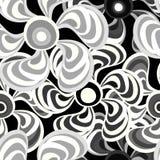 Les fleurs abstraites brillamment colorées sur un modèle noir de fond dirigent l'illustration Images libres de droits