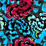 Les fleurs abstraites brillamment colorées sur un modèle sans couture de fond noir dirigent l'illustration Images stock