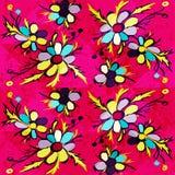Les fleurs abstraites de graffiti sur un fond rose dirigent l'illustration Photo libre de droits