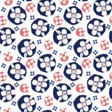 Les fleurs blanches de coupe-circuit audacieux sur le fond bleu dirigent le modèle sans couture illustration libre de droits