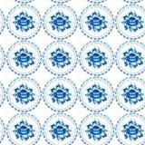 Les fleurs bleues de modèle sans couture chic minable d'ornement de vintage partent Image stock