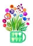 Les fleurs décoratives dans un pot, fleur sus-jacente translucide d'aquarelle, pré fleurit, célébration l'aquarelle que sensible  illustration stock