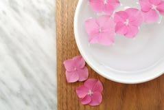 Les fleurs dans une eau roulent pour l'aromatherapy sur un fond en bois Photographie stock