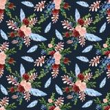 Les fleurs de Bohème ethniques de bleu marine de grenat de Bourgogne de style d'aquarelle sans couture de modèle poussent des f illustration libre de droits