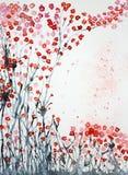 Les fleurs de cerisier de l'herbe labourent le ciel Photographie stock libre de droits