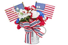 Les fleurs de décoration de métier de drapeaux américains ont isolé le blanc Photos libres de droits