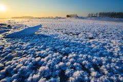 Les fleurs de glace en rivière Photographie stock libre de droits