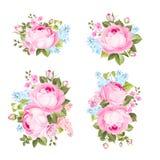 Les fleurs de vintage ont placé le fond d'overwhite Images stock