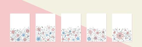 Les fleurs dirigent des bannières dans le style de griffonnage illustration stock