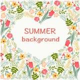 Les fleurs encadrent avec le thème floral coloré d'heure d'été de coeur Image stock
