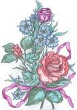 Les fleurs esquissent, dessin de la carte de voeux Photo libre de droits