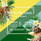 Les fleurs et le Tiger Summer Wedding Card tropicaux, font gagner la date, invitation florale exotique Photo stock