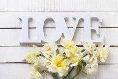 Les fleurs jaunes fraîches et le mot de narcisse aiment sur l'OE peint par blanc Photo stock