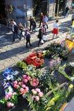 Les fleurs lancent sur le marché, Milan photographie stock