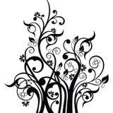 Les fleurs, les feuilles et les remous conçoivent la silhouette d'élément dans le noir Photos libres de droits