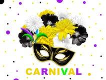 Les fleurs lumineuses noires jaunes et le masque noir de carnaval d'or sur le blanc ont pointillé le fond Illustration Image stock